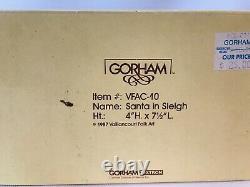 Vaillancourt Gorham Folk Art Santa Sleigh Reindeer 1987 VFAC-10 IOB