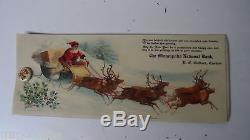 Very Old Celluloid Ink Blotter SANTA SLEIGH REINDEER Minneapolis Nat Bank