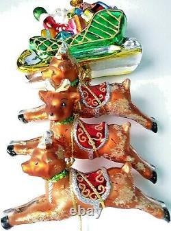 Very Rare Christopher Radko Santa Sleigh 3 Hanging Reindeer 12 Long Must See