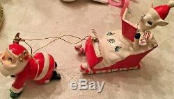 Very Rare Htf Holt Howard Santa Pulling Sleigh With Reindeer In Sleigh