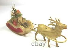 Vintage 1930's Christmas Celluloid Santa Claus in Sleigh with Tree & Reindeer