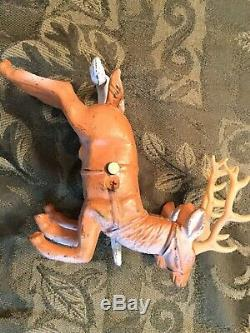 Vintage 1930s Santa Sleigh Reindeer Cast Metal 18 Toy
