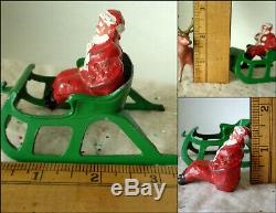 Vintage 1940's Cast Lead BARCLAY Seated Santa With Toy Sack Sleigh and Reindeer