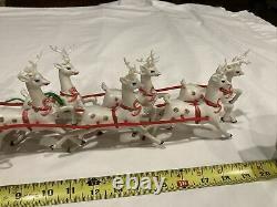 Vintage 1950s Christmas Plastic Santa & 6 Reindeer & felt sleigh 20