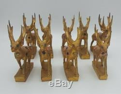 Vintage 1950s Gold Leaf Wood Reindeer& Sled Sleigh Handmade in Thailand