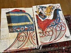 Vintage 1957 plywood patterns Santa Claus, Christmas Sleigh & Reindeer U-bild
