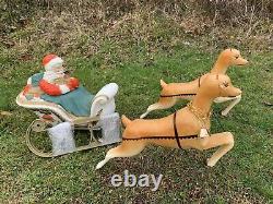 Vintage 1960's Poloron Santa Sleigh BlowMold Rare Christmas And Union Reindeer