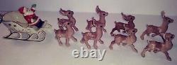 Vintage 1960s Mid-Century Santa & Sleigh, Holland Mold & 8 Reindeer Handpainted