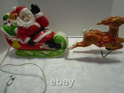 Vintage 1970 EMPIRE Santa Sleigh 2 Reindeer Lighted Blow Mold 24 wide