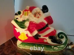 Vintage 1970 EMPIRE Santa Sleigh 2 Reindeer Lighted Blow Mold 25 FREE SHIPPING