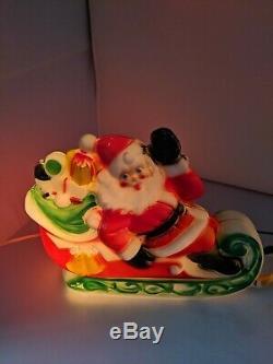 Vintage 1970 Empire Plastic Santa In Sleigh with Reindeer Blowmold Works