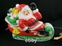 Vintage 1970 Empire Santa Claus Sleigh Reindeer Tabletop 24 Blow Mold MCM