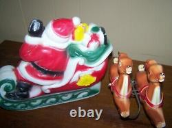 Vintage 1970 Lighted Empire Blow Mold Santa withSleigh & 2 Reindeer 24 Long