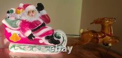Vintage 1970's Empire Lighted Santa Sleigh and Reindeer Blow Mold