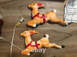 Vintage 1979 Empire Blow Mold Light Up Santa Sleigh & 2 Reindeer, With BOX