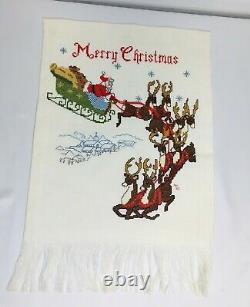 Vintage 1980 Santa Claus Sleigh Needlepoint Christmas Reindeer Flag Wall Hanging