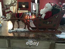Vintage 1999 Animated Reindeer & Santa on Sleigh RARE