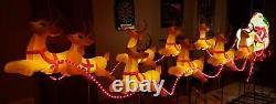 Vintage 1999 Blow Mold Santa Sleigh Reindeer Grand Venture Christmas Decorations