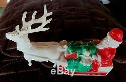 Vintage 40's Irwin Celluloid Santa's Reindeer Sleigh Of Toys Christmas Ornament