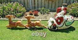 Vintage 70's Empire Large Santa Claus Sleigh & 2 Reindeer Yard Decor Blow Mold