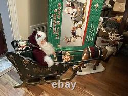 Vintage Animated Santa Claus Sleigh Reindeer Musical Light Motion 37 Toys Deer