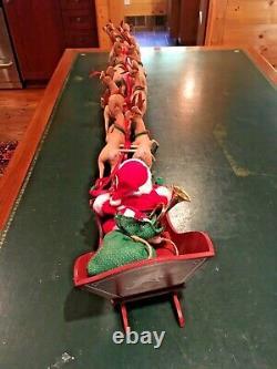 Vintage Annalee 10 Santa In Sleigh With 8 10 Reindeer Excellent Condition