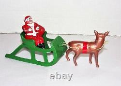 Vintage Barclay Toy Lead Santa With Toy Bag In Sleigh & Reindeer
