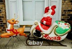 Vintage Blow Mold Empire Santa Sleigh and A Grand Venture Reindeer