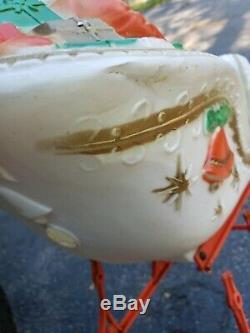 Vintage Blow Mold POLORON Santa on Sleigh Two Reindeer Xmas Yard Decor RARE
