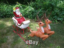 Vintage Blow Mold POLORON Santa on Sleigh w Two Reindeer Xmas Yard Decor Lights