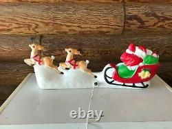 Vintage Blow Mold Union Products Santa Claus Reindeer Sled Christmas Tabletop