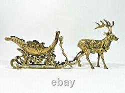 Vintage Brass Reindeer And Santa Sleigh Christmas