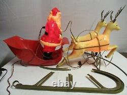 Vintage Brite Star Santa Sleigh and Reindeer Blow Mold Plastic 1950's RARE