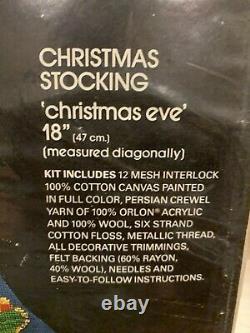 Vintage Bucilla Needlepoint Stocking Kit Christmas Eve Santa Sleigh Reindeer
