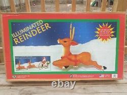 Vintage CIB General Foam Santa Sleigh Reindeer Christmas Blow Mold Light with Box
