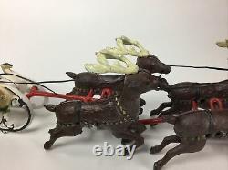 Vintage Cast Iron / Metal Team Of 8 Reindeer Pulling Santa's Sleigh Christmas