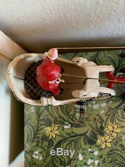 Vintage Cast Iron Santa Sleigh On Wheels 2 Reindeer Wow! EVC