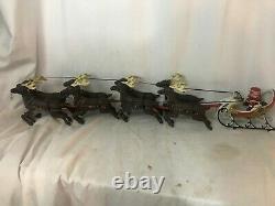 Vintage Cast Iron Santa and 8 Reindeer Sleigh BEAUTIFUL