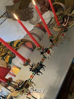 Vintage Christmas 5 Candle Lg CandelabraSantaSleighReindeerHand Painted 31