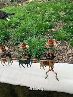 Vintage Christmas 5 Candle Long CandelabraSanta ClausSleighReindeerMetal Art
