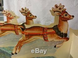 Vintage Christmas 8 Reindeers Santa's Sleigh Die-Cut Scrap