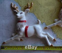 Vintage Christmas Ceramic Wall Hanging Santa Claus Sleigh & Reindeer
