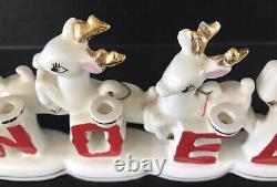 Vintage Christmas Figurine Noel Santa Sleigh & Reindeer Relco Japan 1950s