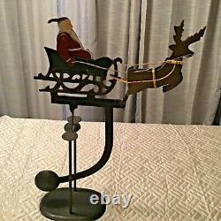 Vintage Christmas Metal Santa Sleigh Reindeer Rocking Balance Decoration