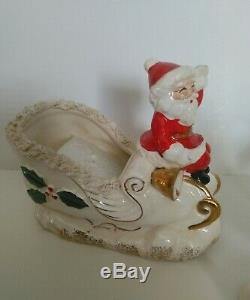 Vintage Christmas Napco Santa Sleigh Planter & 3 Reindeers Spaghetti Trim