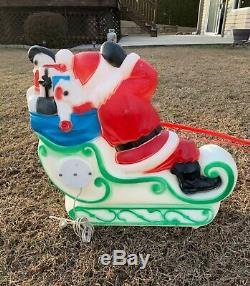 Vintage Christmas SANTA SLEIGH & REINDEER BLOW MOLD LIGHT Up