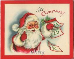 Vintage Christmas Santa Claus December Calender Red White Reindeer Sleigh Card