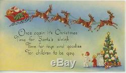 Vintage Christmas Santa Claus Sleigh Reindeer Deer Tree Presents Greeting Card