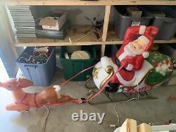 Vintage Christmas Santa In Sleigh WithToys & Reindeer Lighted Blow Mold Huge Rare