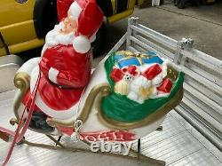 Vintage Christmas Santa In Sleigh WithToys & Reindeer Lighted Blow Mold Ornaments